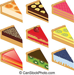 nine cakes - collection of nine sweet cakes