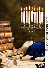 Nine candles for hanukkah, and a prayer shawl