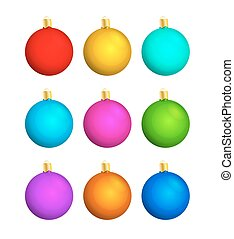 nine christmas balls with different color, isolated