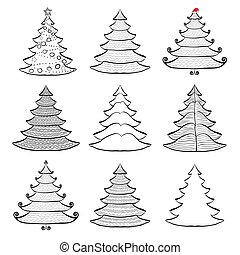 Nine Christmas trees set black on white