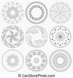 Set of nine different circular floral patterns for the ceramic dishes or other decoration. Editable hand drawing vector illustration