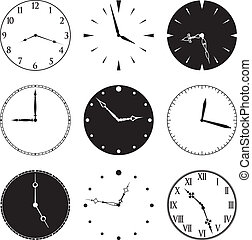 Nine Clock Faces and Hands, faces and hands are separate...