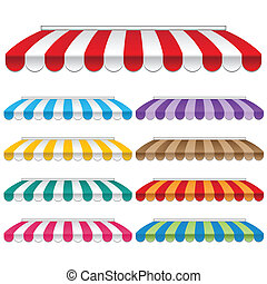 Nine colored awnings. frames and backgrounds vectors.