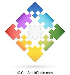 nine colored puzzle parts for teamwork symbolism