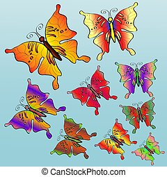 Nine colorful bright butterflies