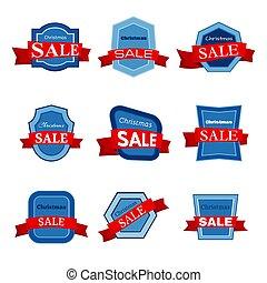 Nine colorful Christmas Sale badges