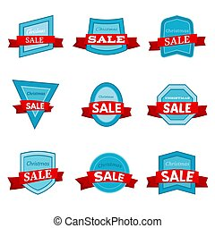 Nine colorful Christmas Sale badges