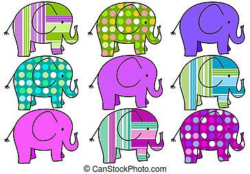 nine colorful elephants background - background with nine ...