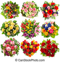 nine colorful flowers bouquet for Birthday, Wedding, Mother's Day, Easter, Anniversary, Holidays