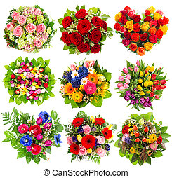 nine colorful flowers bouquet on white - nine colorful...
