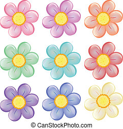 Illustration of the nine colorful flowers on a white background
