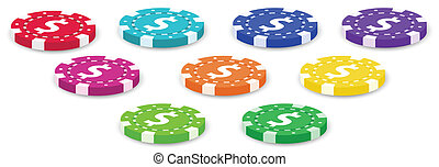 Nine colorful poker chips