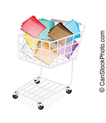 A Shopping Cart Full with Various Color of File Folder Icons or Office Foloder for Backups and Storing of Data Isolated on White Background.