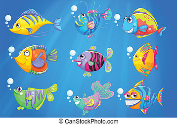 Nine colourful fishes under the deep ocean - Illustration of...