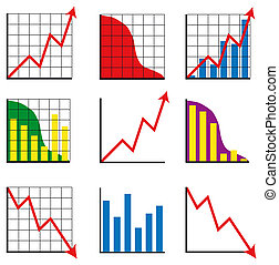 Nine different business charts