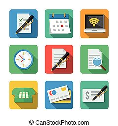 Nine different icons in a flat style