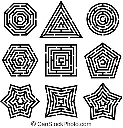 maze - nine different mazes on white background