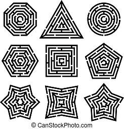 nine different mazes on white background