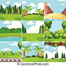 Nine different outdoor nature scenes