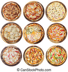 Nine different pizzas in one set, isolated on white, top view