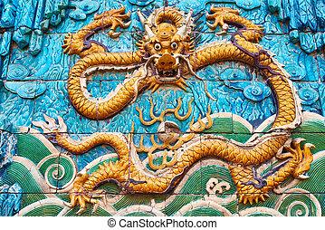 Nine Dragon Wall Forbidden City Beijing China