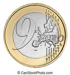 Nine  euro coin -  Nine euro coin on white