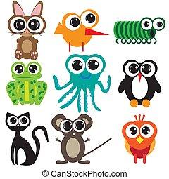 Nine flat designs animals