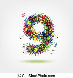 Nine, floral number for your design