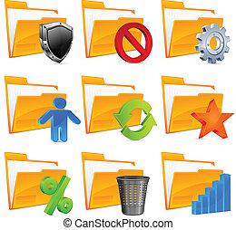 Nine folder icons & symbols