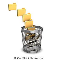 Nine Folders Wastebasket - A batch of folders with a...