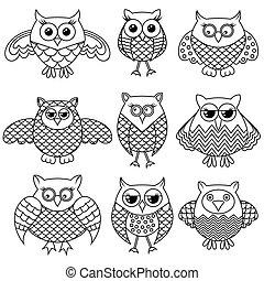 Nine funny cartoon owl outlines - Set of nine stylized...