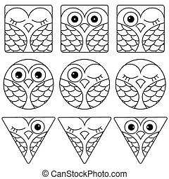 Nine funny owl faces in geometric forms