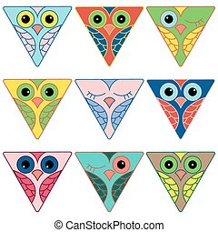 Nine funny owl faces in triangular forms