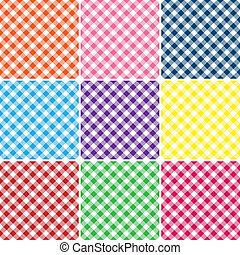 An illustration of a gingham plaid in nine bright colors