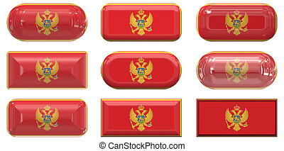 nine glass buttons of the Flag of Montenegro