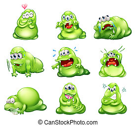 Nine green monsters engaging in different activities -...