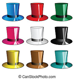 Nine multi-colored hats - cylinders