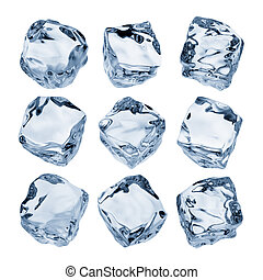 ice cubes - nine ice cubes isolated on white background