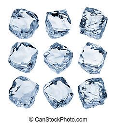 nine ice cubes isolated on white background