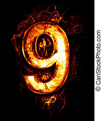 nine, illustration of number with chrome effects and red...