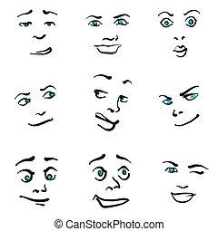 Nine Impressive Emoticon icons, hand drawn facial...