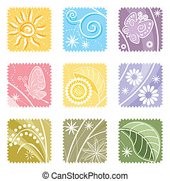 Nine In One Floral Label - Nine in One floral label, vector...