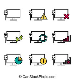 Nine line icons - Computer Connection
