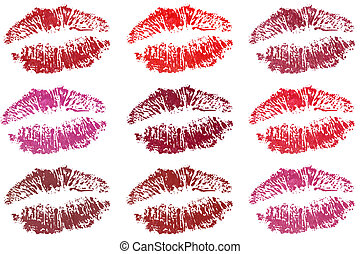 Nine lips - Nine fresh sensible desirable lips in different...