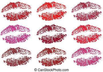 Nine lips - Nine fresh sensible desirable lips in different...
