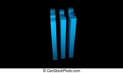 Nine long cuboids on black background, 3d rendering backdroung, computer generating