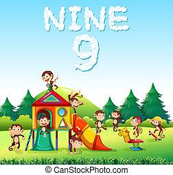 Nine monkey playing at playground