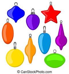 Nine multi colored Christmas balls