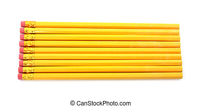 Nine number two yellow pencils