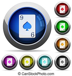 Nine of spades card round glossy buttons